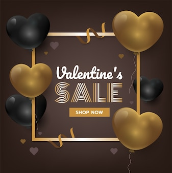 Gold valentine's day background with 3d hearts. sales promotion vector illustration