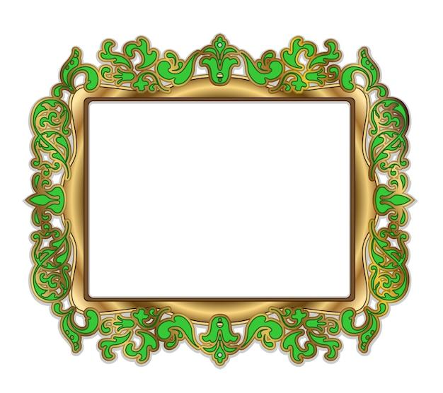Золотой вектор зеленая рамка на белом фоне