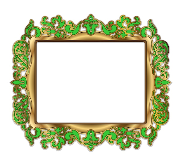 Gold vector green frame over white background