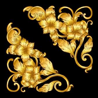 Gold vintage baroque frame scroll