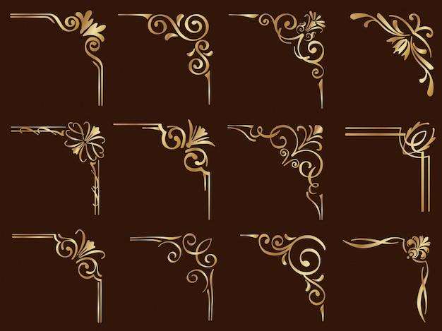 Золотые старинные угловые рамки установлены изолированные на темном фоне.