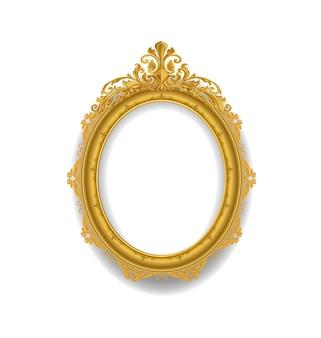 Gold vintage frame on white