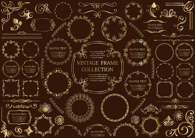 Gold vintage frame set isolated on a dark background.