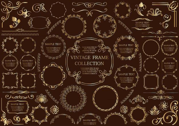 Золотая винтажная рамка набор, изолированных на темном фоне.