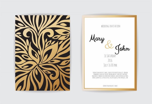 Gold vintage greeting card on black