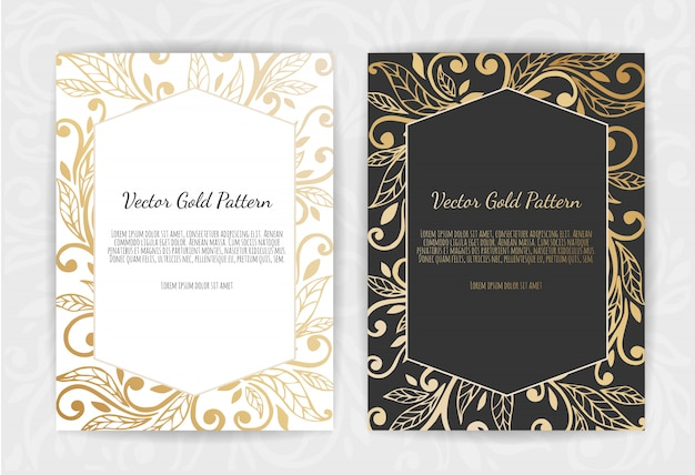 Gold vintage greeting card on black.