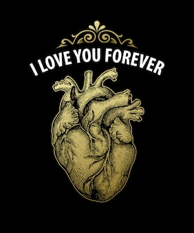 Gold vintage heart. valentine day card. typography design. vector illustration
