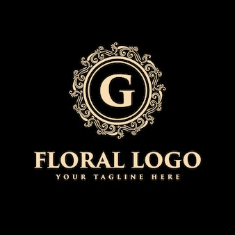 Gold vintage luxury royal vintage monogram floral decorative logo template can be used for spa, beauty salon, decoration, boutique hotel restaurant and cafe .
