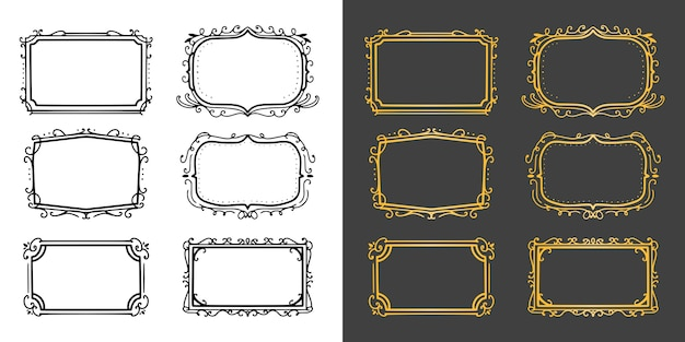 Gold vintage ornament frame luxury collection set