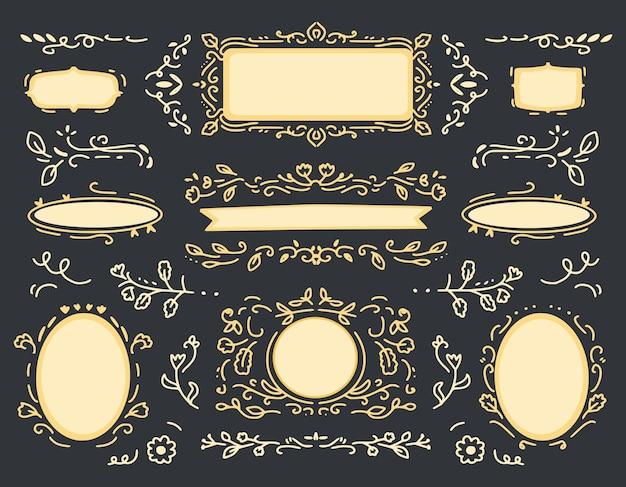 Золотой старинный орнамент ручной рисунок рамка коллекция набор украшения