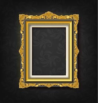 Gold vintage picture frame  on black