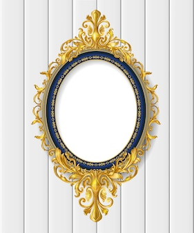 Gold  vintage  picture frame on white wall
