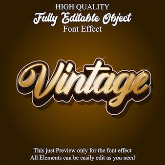 골드 빈티지 스크립트 텍스트 스타일 편집 가능한 글꼴 효과