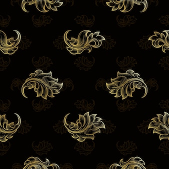 Gold vintage seamless floral pattern. fashion endless floral repetition background, vector illustration