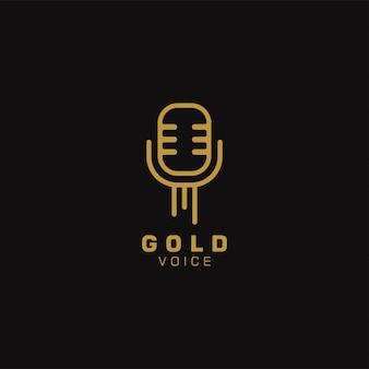 Золотой голос дизайн шаблона логотипа. иллюстрации. абстрактные значки сети микрофона и логотип.
