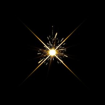金色の暖かい色の明るいレンズフレアが遷移のリークを点滅させる