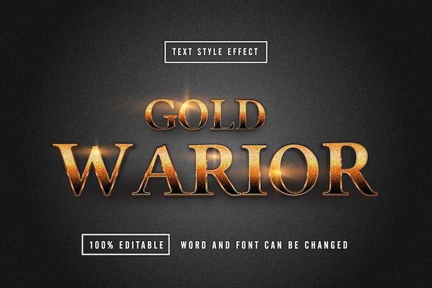 Gold Warrior 텍스트 효과 편집 가능한 프리미엄 다운로드 프리미엄 벡터
