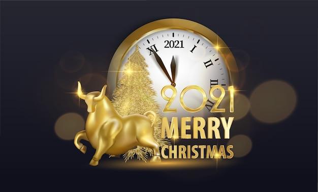 金時計とクリスマスのご挨拶 Premiumベクター