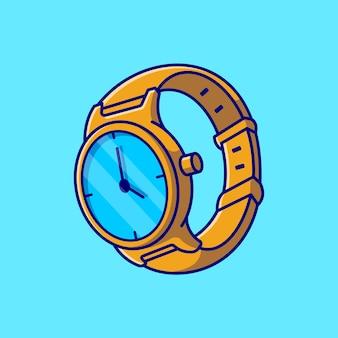 ゴールド時計漫画アイコンイラスト。分離されたファッションオブジェクトの概念。フラット漫画スタイル