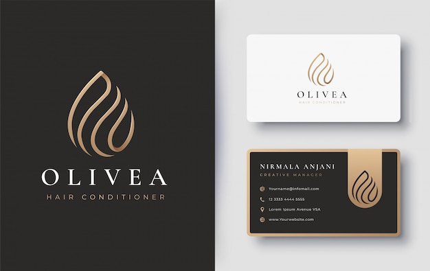 Gold water drop / olive oil logo and business card design