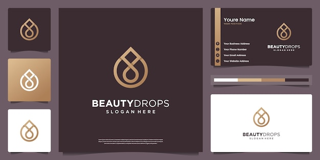 Gold water drop and olive oil logo and business card design