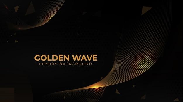Золотой поток волны и золотой блеск на черном фоне. свободный вектор