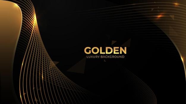 黒の背景に金の波の流れと金色のキラキラ。無料のベクター