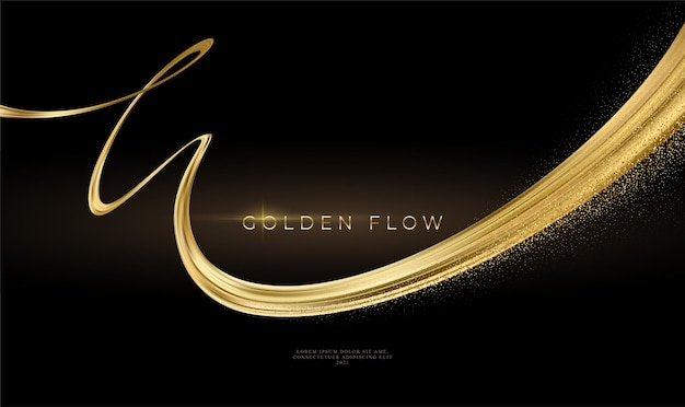 Gold wave flow and golden glitter on black background.