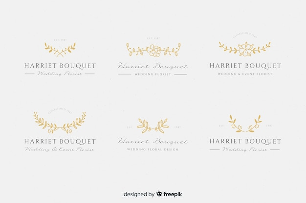 Gold wedding florist logos