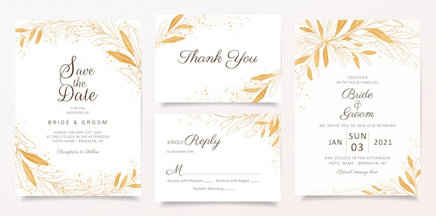 Gold wedding invitation card template set with floral and glitter decoration.