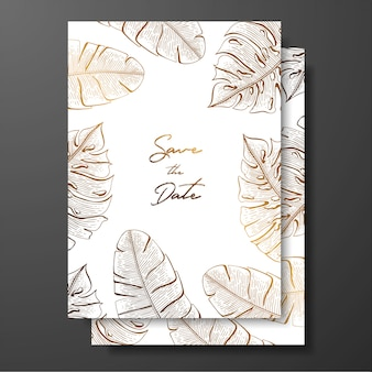 Gold wedding invitation with tropical leaves.  elements for design template.