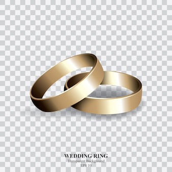 Gold wedding ring on transparent background