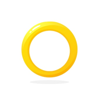 Gold wedding ring vector illustration in flat style
