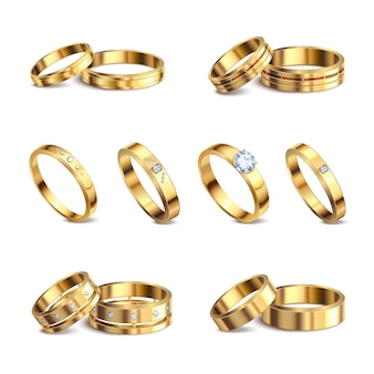 Gold wedding rings 6 realistic isolated sets noble metal with diamonds jewelry against white background  illustration