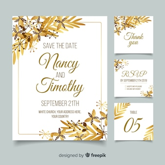 Gold wedding stationery template in flat design