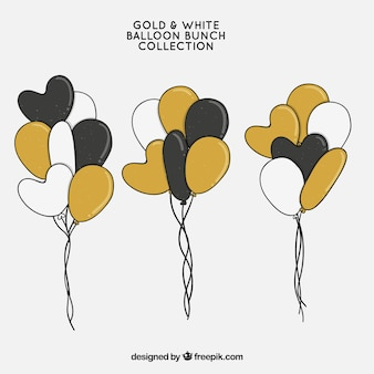 Gold white and black balloons bunch collection