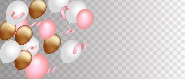 分離された金、白、ピンクの風船