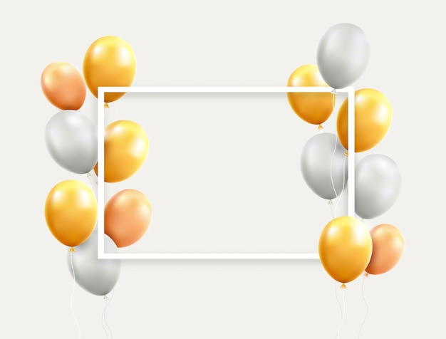 Gold and white balloons with frame illustrations