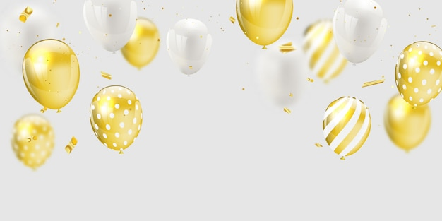 Gold white balloons