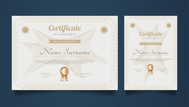 Gold and white certificate template in classic style