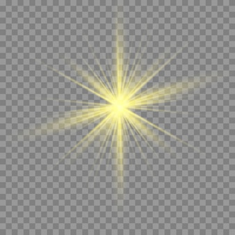 Gold or white glowing light burst explosion transparent.