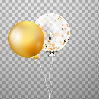 空中で分離された金、白の透明なヘリウム風船。イベントデザインのフロストパーティーバルーン。誕生日、記念日、お祝いのパーティーの装飾。透明バルーンを輝かせます。