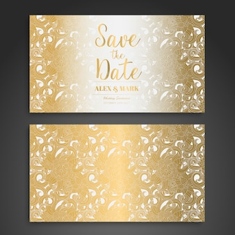 Gold and white wedding card design