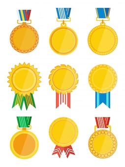 Gold winner badge with ribbon isolated set