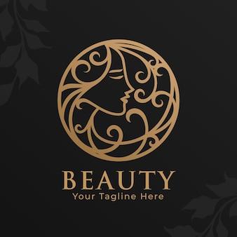 Золотая женщина красоты логотип шаблон