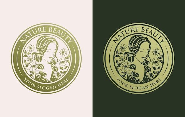 Золотой женский цветок дизайн логотипа