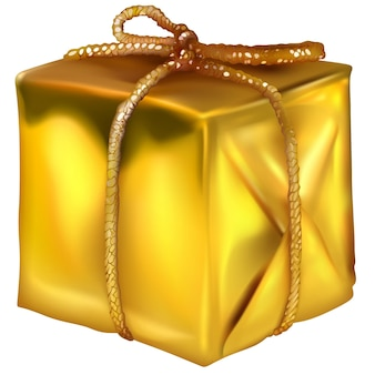 Gold wrapped christmas present box