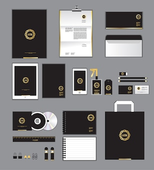 Gold and yellow corporate identity template
