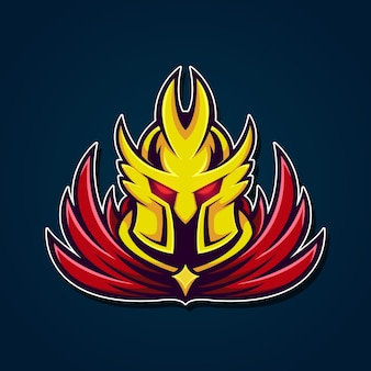 Gold yellow knight mascot head logo