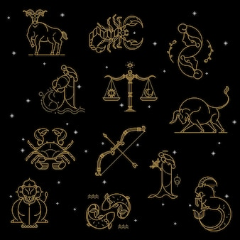 Gold zodiac sign set on a black background